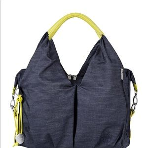 "Lassig Diaper Bag ""Neckline"" I'm Denim Blue w Lime"